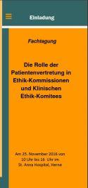 """Cover des Einladungsflyers zur Veranstaltung """"Die Rolle der Patientenvetretung in Ethik-Kommissionen und Klinischem Ethik-Komitees"""" am 25.11.2016"""